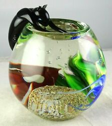 Rare Correia Studio Art Glass Paperweight Cat Perched Over Fishbowl