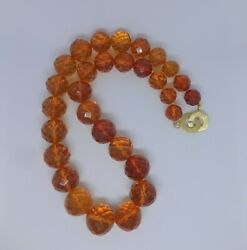 Large Cognac Faceted Amber Necklace 92g