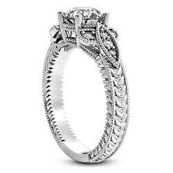 Vintage Solitaire 1 Ct Diamond Engagement Ring Round Cut 14k White Gold Enhanced