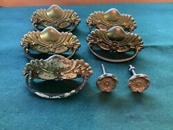Antique Pressed Brass Drawer Pulls And Knobs