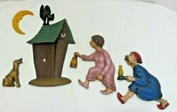 Vntg 1960's Arnels Race To The Outhouse Complete Set Of 6 Bathroom Wall Decor