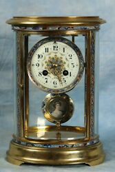 Superb Antique French Cloisonne Champleve Crystal Regulator Clock 19th Century