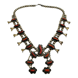 Navajo Vintage Sterling Silver And Coral Southwest Squash Blossom Necklace 24