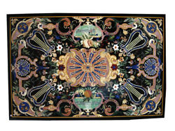 4and039x3and039 Black Marble Dining Table Pietra Dura Scagliola Handmade Inlay Decors B339
