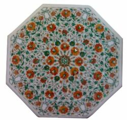 White Octagon Marble Coffee/dining Table Carnelian Mosaic Floral Inlay Art H2304
