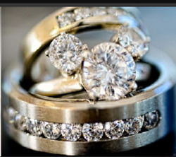 4.30 Ct Diamant Rond Set Mariage Mickey Bague And Bande 14k Or Blanc Finition
