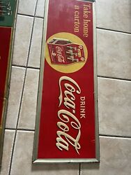 Vintage 1930's Take Home A Carton 6 Pack Coca Cola Sign