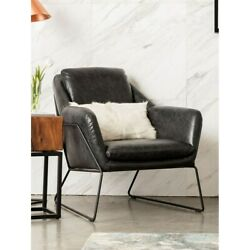 Aurelle Home Rudolph Black Leather Accent Chair Black Modern And Contemporary, Rus