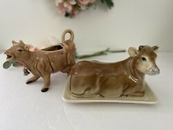 Vintage Otagiri Beige Cow Butter Dish And Creamer Set 1982 Japan Hand Painted