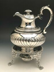 Beautiful Antique Sterling Silver Tea Kettle On Stand London, England Circa 1815