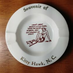 Vintage Risque Naughty Topless Pinup Porcelain Ashtray Kitty Hawk, Nc
