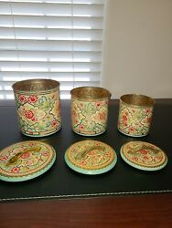 Vintage Nesting Tin Canisters Set Of 3 Embossed Made In Holland Floral Victorian
