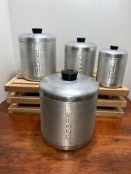 Vintage Set Of 4 Tin Kitchen Canisters Flour, Sugar, Coffee And Tea