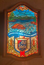 Beautiful Rare Old Style Beer Lighted Sign Faux Stained Glass Vintage Heilemans
