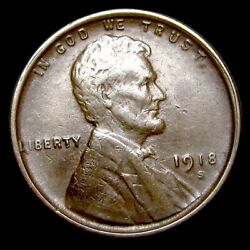 1918-s Lincoln Cent Wheat Penny ---- Nice Condition ---- T364