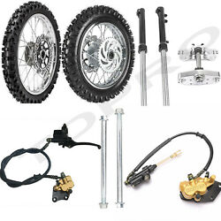 Front And Rear 60/100-14 80/100-12 Wheel Tire + Front Fork Triple Clamp Dirt Bike