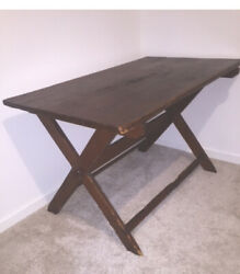 1900s Solid Wood Picnic Style Dining Table Or Farm Table