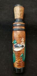 Jeff Faigley Hand Carved And Painted Ducks On Barrel Duck Call W/ Metal Reed 12