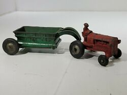 Vintage Arcade Cast Iron Allis Chalmers Tractor And Dump Trailer Toy Vehicle