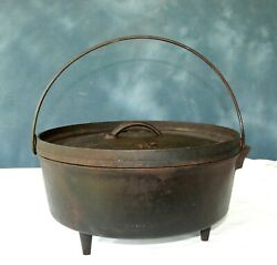 Rare Lodge No. 12 Cast Iron Dutch Oven 12co D Heart Stamp 3 Leg +lid Made In Usa