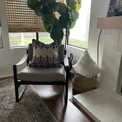 Restoration Hardware Leather Pewter Sling Arm Lounge Chair