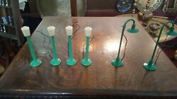 Antique Marx O Scale Train Lamp Posts 6 Total 4 Pre War 2 1950and039s Exc. Con.