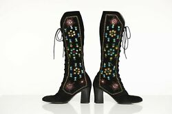 Vintage Jerry Edouard Suede Embroidered Boots Penny Lane Style 1969-1973 Rare
