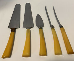 Vintage Butterscotch Bakelite Handle And Stainless Serving Utensils Mixed Lot