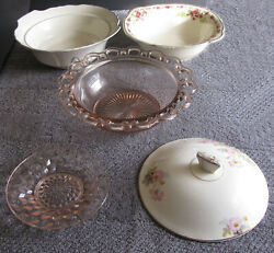 Antique Pink Depression Glass Alfred Meakin England Bowls Plate Lid 5pc Mix Rare