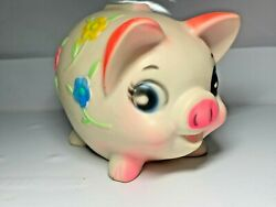 Vintage 70's Sanitoy Molded Happy Girl Piggy Bank Raised Bright Flowers