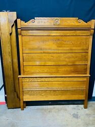 Antique Victorian American Tall Full Size Headboard, With Rails, Slats And A Foo