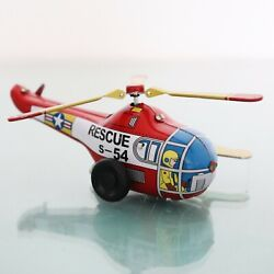 Tin Toy Vintage Wind Up Driving Helicopter Plane Working Winding Moving Motion