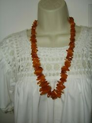 Vtg Collectible Beaded Natural Amber Yolk Butterscotch Chunky Necklace 26 L