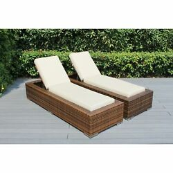 Ohana Outdoor Patio 2 Piece Mixed Brown Wicker Chaise Lounge