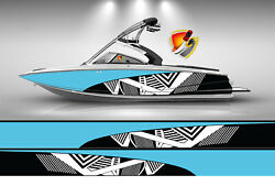 Light Blue And White Modern Lines Graphic Vinyl Boat Wrap Decal Fishing Pontoon