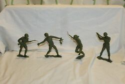 Vintage 1964 Marx 6 Inch Usmc Soldiers Wwii Style Action Figures Lot Of 4