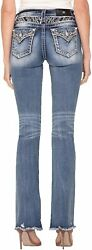 Miss Me Women's Mid-rise Boot Jeans With Faux Flap Pocket And Embroidery D