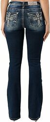 Miss Me Women's Mid-rise Boot Jeans With Wing In Cross Designs