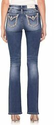 Miss Me Women's Mid-rise Boot Jeans With Crosshatch Border Embellishments