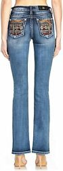 Miss Me Women's Mid-rise Boot Cut Jeans With Desert Cactus Embellishments
