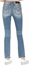 Miss Me Women's Mid-rise Straight Leg Jeans With Heavy Stitch Border Details