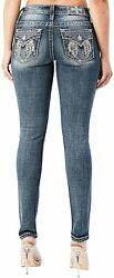 Miss Me Women's Mid-rise Skinny Jeans With Angel Wing And Broken Faux Leather Em