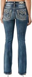 Miss Me Women's Mid-rise Piecing Bootcut Jeans With Cross Stitch Faux Flap Pocke