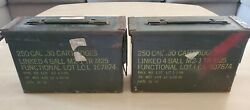 2 Vintage 1972 Lot Military Metal Empty Ammo Box Can 30 Cal 250 Linked 4 Ball