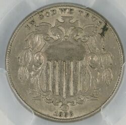 1866 With Rays Shield Nickel. Obverse Lathe Lines. Pcgs Au55. Et3418/ben