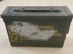 Vintage 1974 Lot Military Metal Empty Ammo Box Can 30 Cal 250 Linked 4 Ball