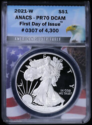 2021 W Type 1 Proof Silver Eagle Anacs Pr 70 Dcam   First Day Of Issue Fdoi