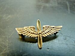 Ww2 Us Army Air Corps 14k Solid Yellow Gold Lapel Insignia Pinback