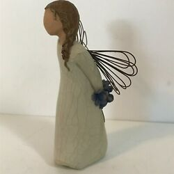 Willow Tree Angel Thank You Holding Blue Flowers 2002 Susan Lordi Demdaco 5-1/2