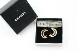 Auth Cc Rhinestone Moon Clip On Earrings Black/gold 01p Used From Japan